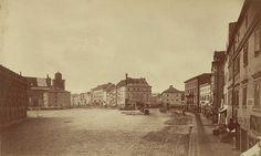 Warszawa – Plac Zamkowy z widokiem na Krakowskie Przedmieście i ulicę Senatorską, 1870