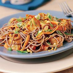 Spicy Soba Noodles with Chicken in Peanut Sauce Recipe | MyRecipes.com