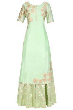 Mint green tissue brocade work long kurta and sharara pants set available only at Pernia's Pop Up Shop.