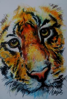 Oil pastel with strokes showing direction of the fur
