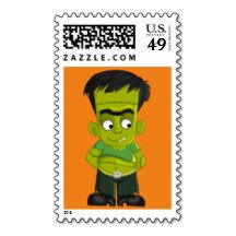 Animated Halloween Frankenstein Postage Stamps