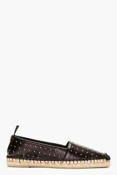 Saint Laurent Black Leather Micro Stud Espadrilles