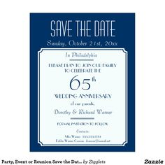 Party, Event or Reunion Save the Date in Blue