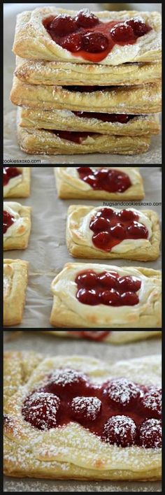 Cherry cream cheese danish in less than 30 minutes? It is not only possible but scrumptious, too! Whip this up for a brunch or afternoon tea and be a superhero to all danish lovers! Köstliche Desserts, Delicious Desserts, Dessert Recipes, Yummy Food, Health Desserts, Cherry Desserts, Party Recipes, Brunch Recipes, Cream Cheese Puff Pastry