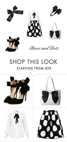 """black and white"" by missmodest17 ❤ liked on Polyvore featuring Betsey Johnson, Jolie Moi, Boutique Moschino and dotsandbows"