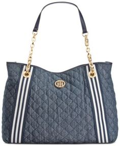 a4bd1b98385d Tommy Hilfiger Quilted Denim Tote Handbags   Accessories - Macy s