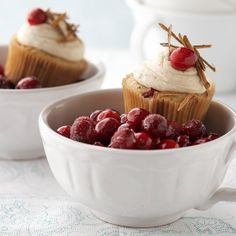 Cranberry Chai Cupcakes. Something to try! The Chai cookies I made this Christmas were to die for!
