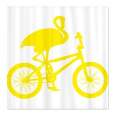 yellow flamingo on a bicycle shower curtain