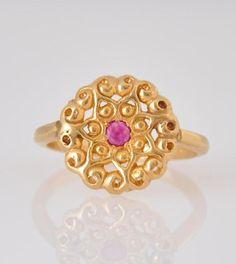 14k Gold Ring  Ruby Ring  Mandala Gold Ring  by malkaravinajewelry