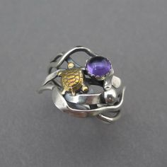 Purple Amethyst and Brass Turtle and Silver Kelp mixed metal ring with silver pod and February birthstone -seaweed series on Etsy, $88.00
