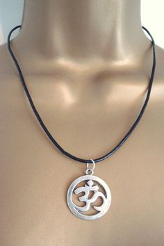 BNWOT Antique Silver Tone Om Aum Pendant on Black Leather Cord Necklace found at outofthefireuk on ebay.co.uk