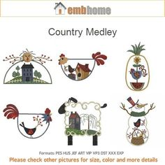 Country Medley Machine Embroidery Designs Instant by embhome