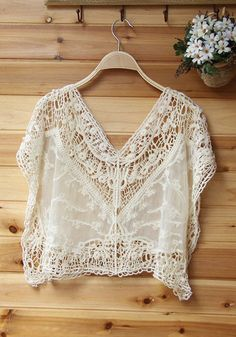 Front view of crochet lace top