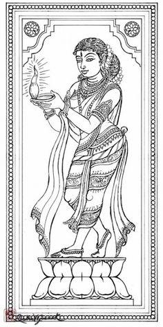 35 Ideas for deep love art colour Kerala Mural Painting, Indian Art Paintings, Madhubani Painting, Diwali Painting, Outline Drawings, Art Drawings, Mural Art, Murals, Hindu Art
