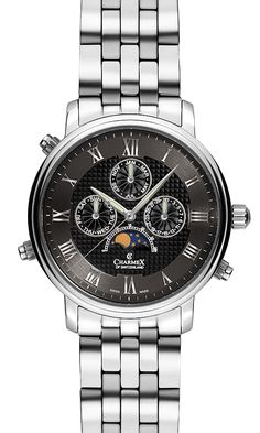 The VIENNA II by Charmex of Switzerland™; luxury Swiss Made wrist watches on the official Charmex of Switzerland™ website Moon Phases, Stainless Steel Case, Vienna, Chronograph, Switzerland, Watches For Men, Mens Fashion, Band, Moda Masculina