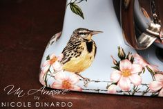 Meadowlark and floral Hand Painted KitchenAid Mixer by NICOLE DINARDO of UN AMORE