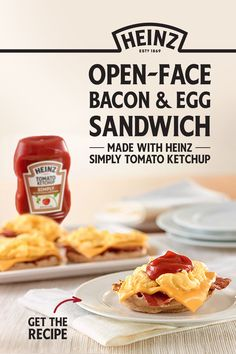 Open-Face Bacon & Egg Sandwich with Ketchup Egg Recipes, Pizza Recipes, Cheesecake Recipes, Soup Recipes, Cooking Recipes, Recipies, Paninis, Bloody Mary Recipes, Pulled Pork Recipes