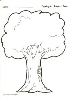 Simple Tree coloring page-have children color then ink