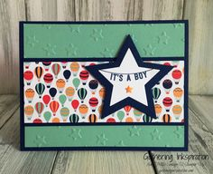 handmade card, baby card, handmade baby card, hand stamped, balloons, stars, embossed, fun bright colors, banner, demonstrator, paper crafting, hobby, easy, quick, rubber, stamps, stamping, craft, stampin up, paper, *Stampin' Up, by Amy Frillici, Gathering Inkspiration, order products online at amysuzanne.stampinup.net