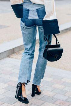 Patchwork denim and block heels