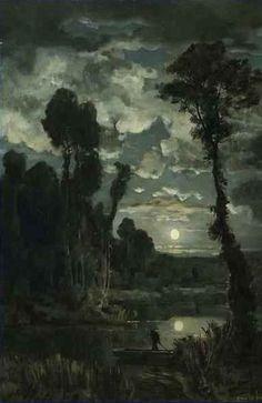 Marais Au Clair De Lune Emile Breton
