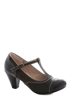 Dance on Air Heel in Black. Theres just something about wearing these T-strap heels byChelsea Crew that can instantly make your good day even better! #black #modcloth