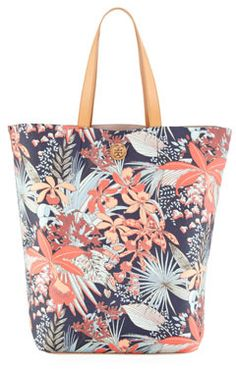 $221, Kerrington Floral Print Tote Bag by Tory Burch. Sold by Neiman Marcus. Click for more info: http://lookastic.com/women/shop_items/49477/redirect