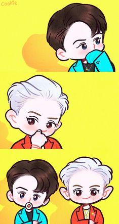 Exo-CS what a life Chibi, Exo Art, Kawaii, Exo Fan Art, Exo Chibi Fanart, Anime, Cartoon, Exo Anime, Fan Art