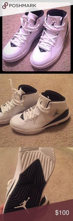 Boys size 7 Jordan shoe. Size 7 youth Shoe is brand new! Never worn! Size 7 in boys youth or 8 in women's. White with a little black. In great condition. Jordan Shoes Sneakers