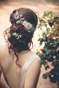 Messy wedding Updo with Bridal Headpiece