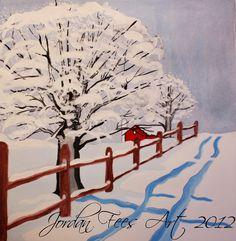 """Red Barn Winter"" Painting by Jordan Fees Art"