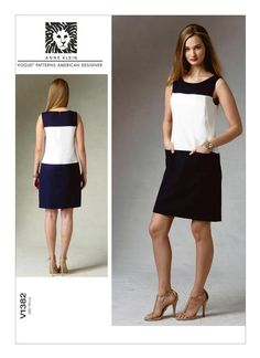 Vogue Patterns Anne Klein Misses' Sleeveless Colorblock Dress pattern for semi-fitted, lined dress (fitted through bust) is sleeveless with yokes, side-front seams, bateau neckline, patch pockets and invisible back zipper. Shift Dress Pattern, Tunic Pattern, Vogue Patterns, Dress Making Patterns, Pattern Making, Miss Dress, Colorblock Dress, Fashion Sewing, Retro Dress