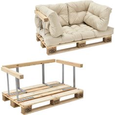 It's that easy to make a sofa from pallets yourself - Diy Möbel Pallet Sofa, Diy Pallet Furniture, Diy Pallet Projects, Pallet Ideas, Furniture Plans, Pallet Cushions, Diy Furniture Cheap, Furniture Removal, Recycled Furniture