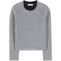 Balenciaga Metallic Sweater (3.020 RON) ❤ liked on Polyvore featuring tops, sweaters, silver, silver sweater, silver top, balenciaga, silver metallic top and balenciaga sweater