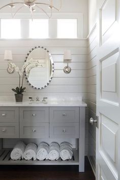 Bathroom Design & Decor - 7 Great Ideas for Your Bathroom Remodel - Ribbons & Stars Upstairs Bathrooms, Grey Bathrooms, Beautiful Bathrooms, Master Bathroom, Basement Bathroom, Half Bathrooms, Bathroom Rugs, Sherwin Williams Grey, Painting Bathroom Cabinets