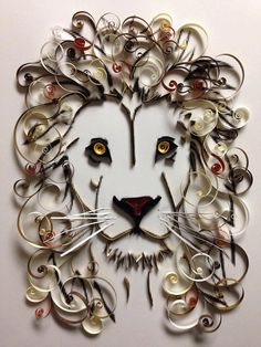 Paper Quilling: Lion Framed Art by jgaCreations on Etsy Paper Quilling Cards, Paper Quilling Flowers, Paper Quilling Patterns, Quilled Paper Art, Quilling Designs, Quilling Art, Quilling Ideas, Quiling Paper, Toilet Paper Crafts