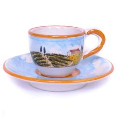 Autunno Espresso Cup and Saucer from the Quattro Stagioni collection | Hand-painted depicting the Four Seasons of Tuscany | Shop more at http://www.giardinidisole.com/shop-tabletop-ceramics