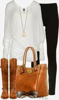 Simple white long shirt, black legging, brown bag with long boots fashion | Fashion World