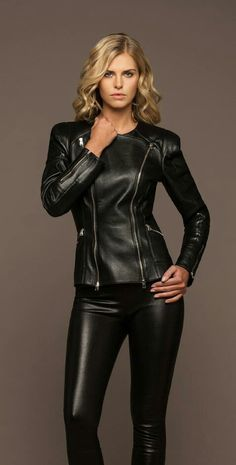 Blonde in leather pants and jacket outfit