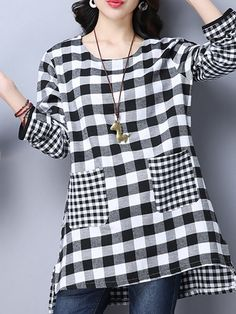 Shop Tunic Tops - Black Long Sleeve Checkered/Plaid Pockets Polyester Tunic Top online. Discover unique designers fashion at PopJuLia.com.