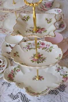 Unique cake stand for petits four created from Old Foley vintage china dishes by Tiers for Tea