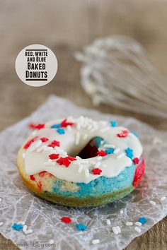 Red, White and Blue Baked Donuts - Taste and Tell