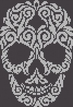 Alpha friendship bracelet pattern added by skull swirl filligree abstract. skull cross stitch or crochet chart türk - The Crocheting Place Picture outcome for cranium crochet diagram a knit and crochet community Zuckerschädel x-Stich , Filet Crochet Charts, Crochet Diagram, Knitting Charts, Cross Stitch Charts, Cross Stitch Patterns, Knitting Patterns, Filet Pattern Crochet, C2c Crochet Blanket, Tapestry Crochet Patterns