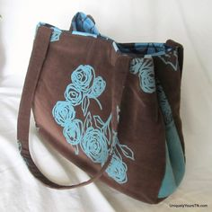 Carol Bag: Brown & Turquoise Floral (convertible bag) from Uniquely Yours