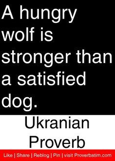 A hungry wolf is stronger than a satisfied dog. - Ukranian Proverb #proverbs #quotes