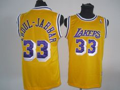 9f8be2ba5 Men s LA Lakers Kareem Abdul-Jabbar 33 Yellow Authentic Throwback NBA Jersey  820103337403 on eBid United States