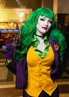 Fem Joker cosplay by HydraEvil.deviantart.com - liking the idea of a vest, for Harley in my case. A vest with darts like this one should be easier for form-fitting