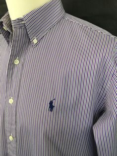 Polo #RalphLauren #Mens #Shirt / Medium / Classic Fit / Purple White Striped Cotton #menswear #mensstyle #mensfashion #macmenswear