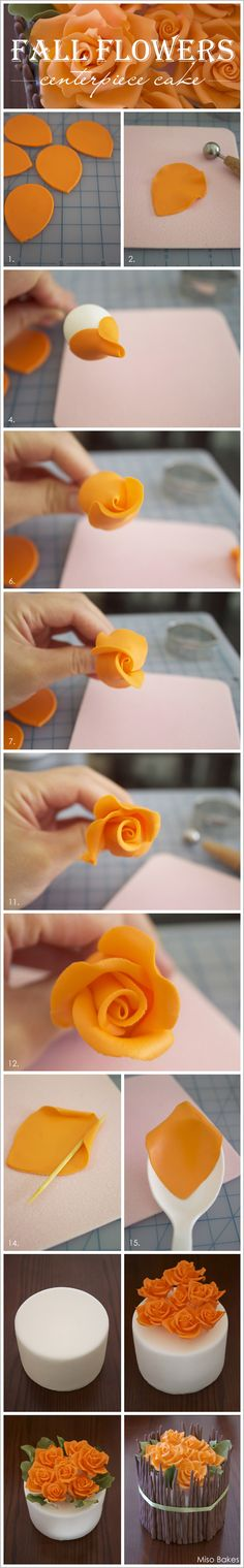 cake decorating photo tutorial ... Fall~Autumn cake with Yellow Roses  ... make roses from fondant ...