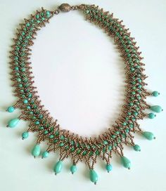 Turquoise Jewelry Beadwork necklaces by SERMINCEJEWELRY on Etsy